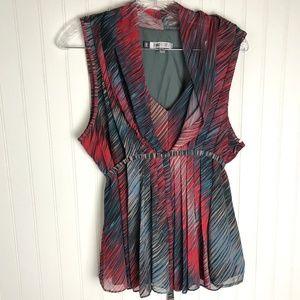 JENNIFER LOPEZ Sleeveless Blouse Gray Red XL